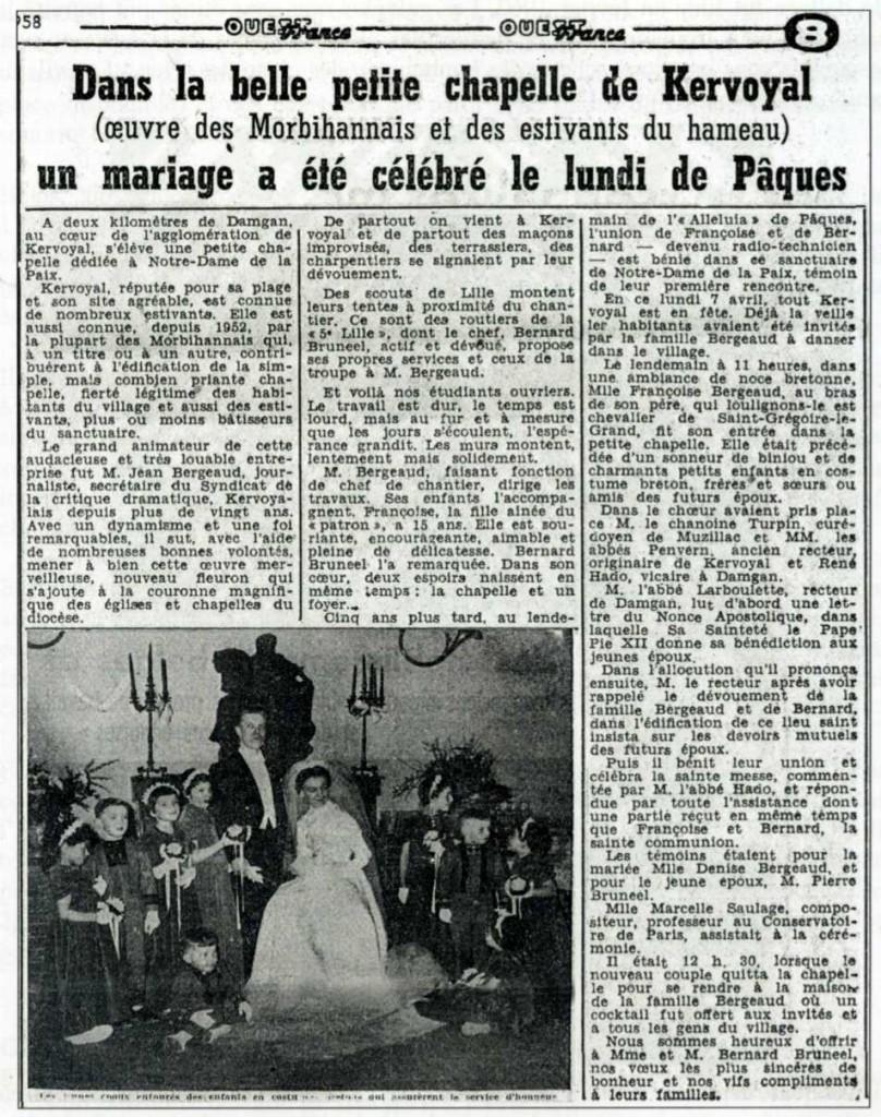 Article de Ouest France sur le 1er mariage à Kervoyal en 1958