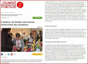 robin des bennes article ouest france 08 novembre 2017