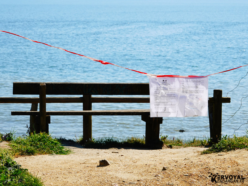 confinement interdiction de plage kervoyal damgan bretagne