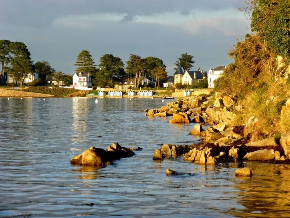 Les cabines de la grande plage de l'île aux moines